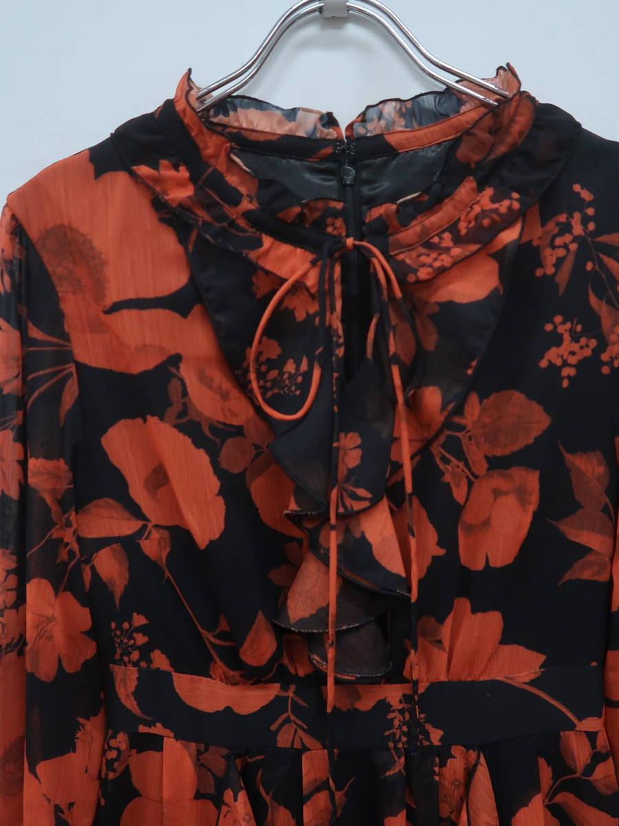 eimy istoire(エイミーイストワール)Julia flowerフリルロングワンピース 長袖 黒/オレンジ レディース 新品 M [委託倉庫から出荷]