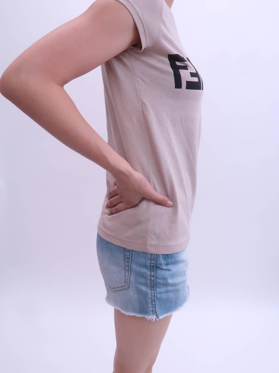 子供服★FENDI(フェンディ)FabulousプリントTシャツ フレンチスリーブ ベージュ レディース Aランク 10A [委託倉庫から出荷]