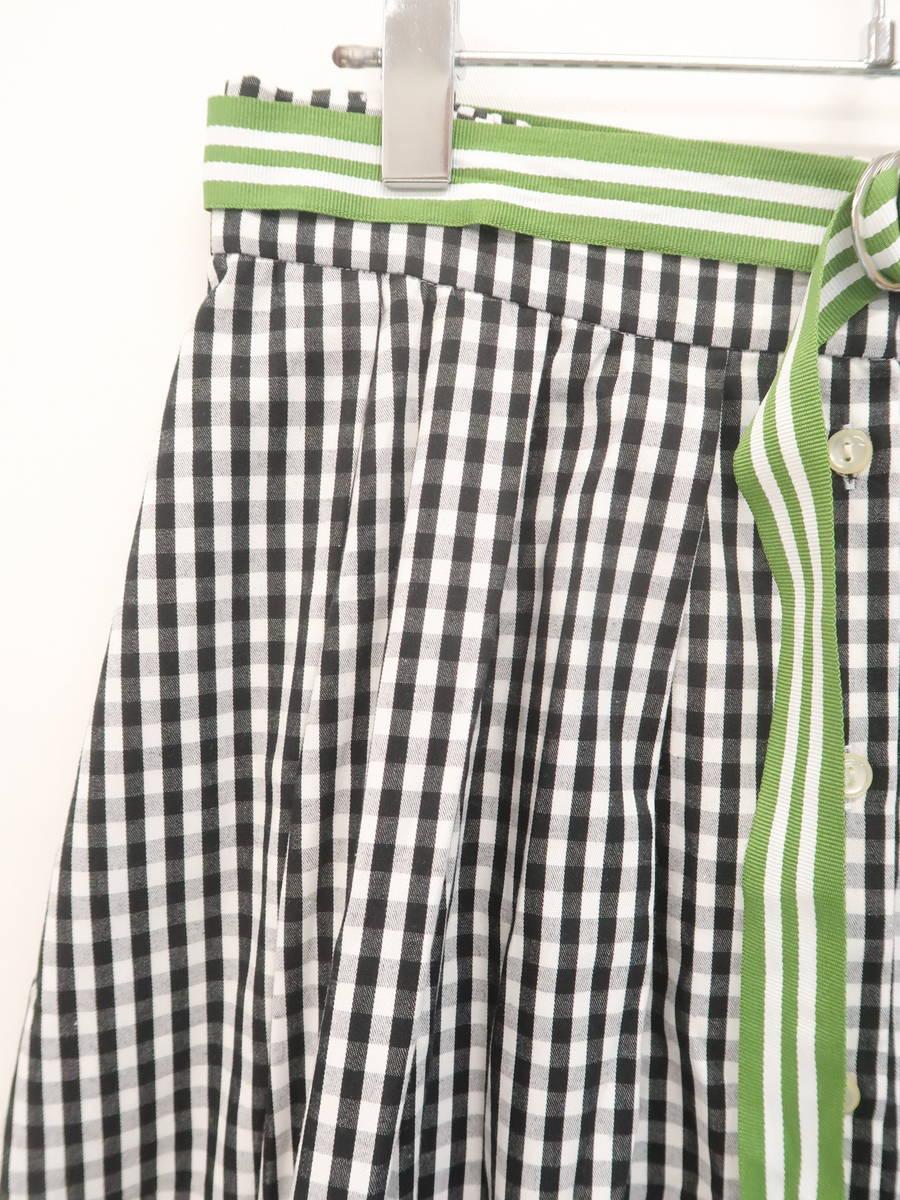 w closet(ダブルクローゼット)ベルト付ギンガムチェックフレアスカート 白/黒 レディース Aランク F [委託倉庫から出荷]