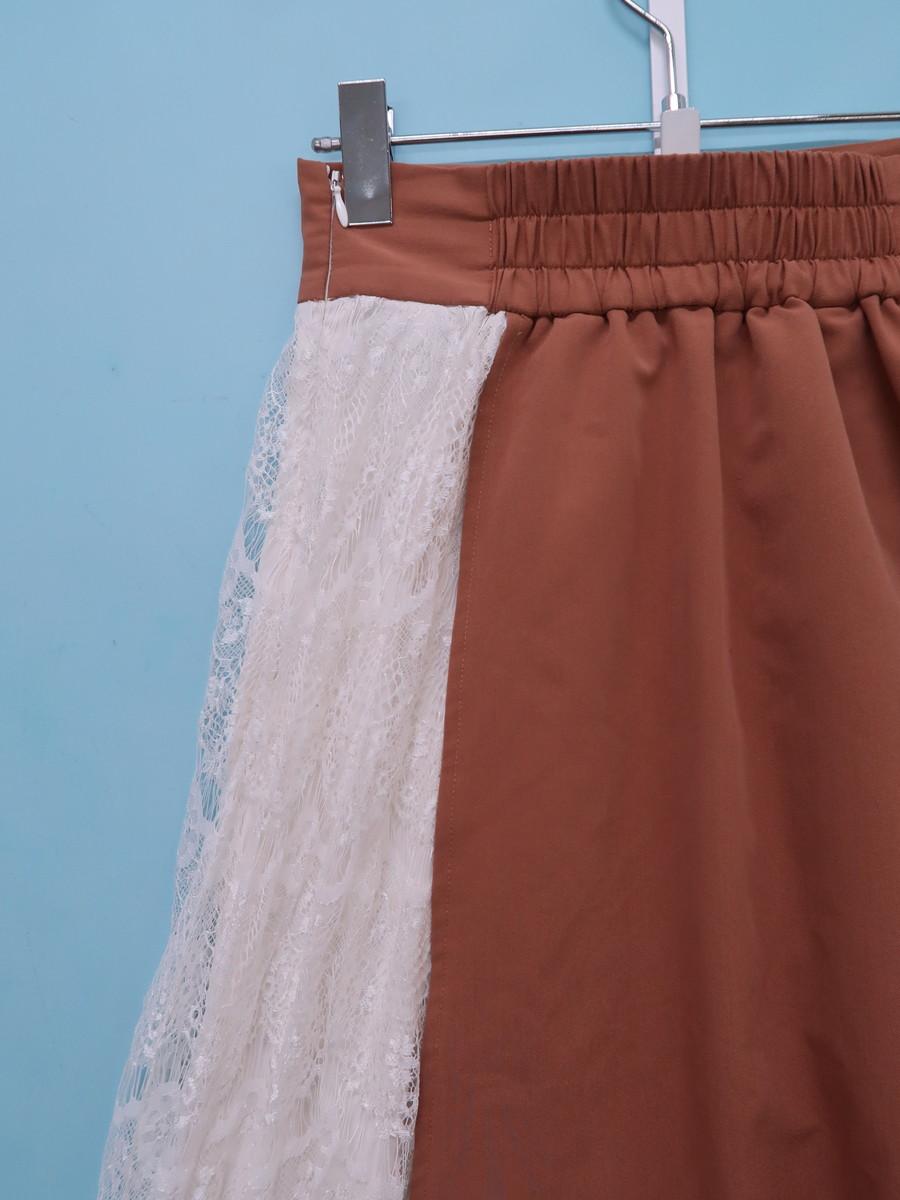 Delyle NOIR(デイライルノアール)ラップデザインフレアスカート 茶 白 レディース Aランク 99 [委託倉庫から出荷]