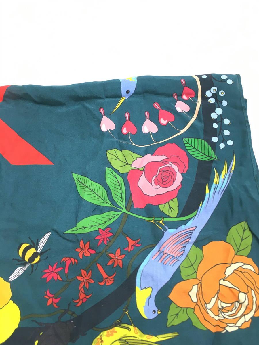 KAREN MABON(カレンマボン)フラワーシルクスカーフ 緑 レディース Sランク ALL [委託倉庫から出荷]