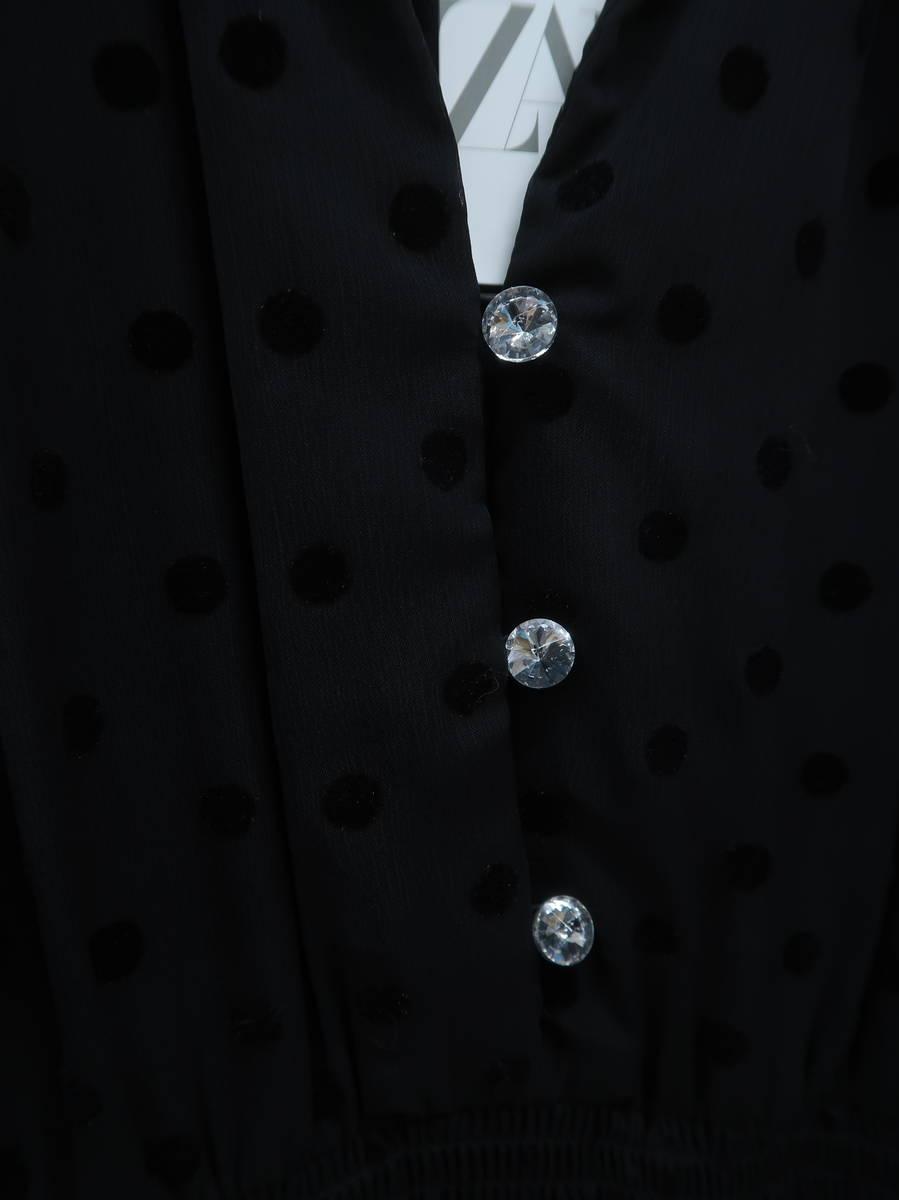ZARA(ザラ)スイスドット柄ミディ丈ワンピース 長袖 黒 レディース 新品 XS [委託倉庫から出荷]
