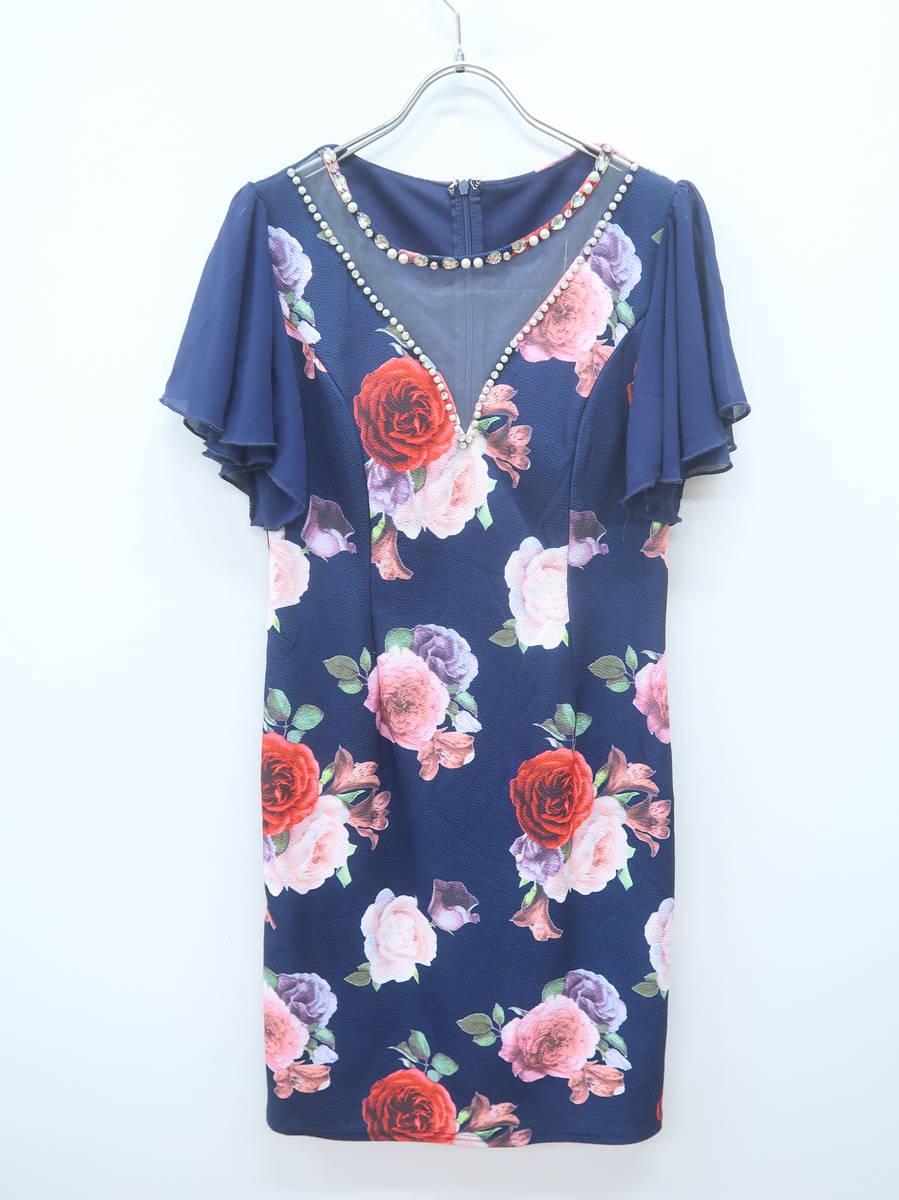 dazzystore(デイジーストア)パールビジューシアーネック花柄タイトドレス 半袖 紺/赤 レディース Aランク L [委託倉庫から出荷]