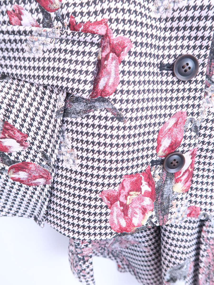 eimy istoire(エイミーイストワール)千鳥フラワージャガードペプラムトップス 黒/ピンク レディース M [委託倉庫から出荷]