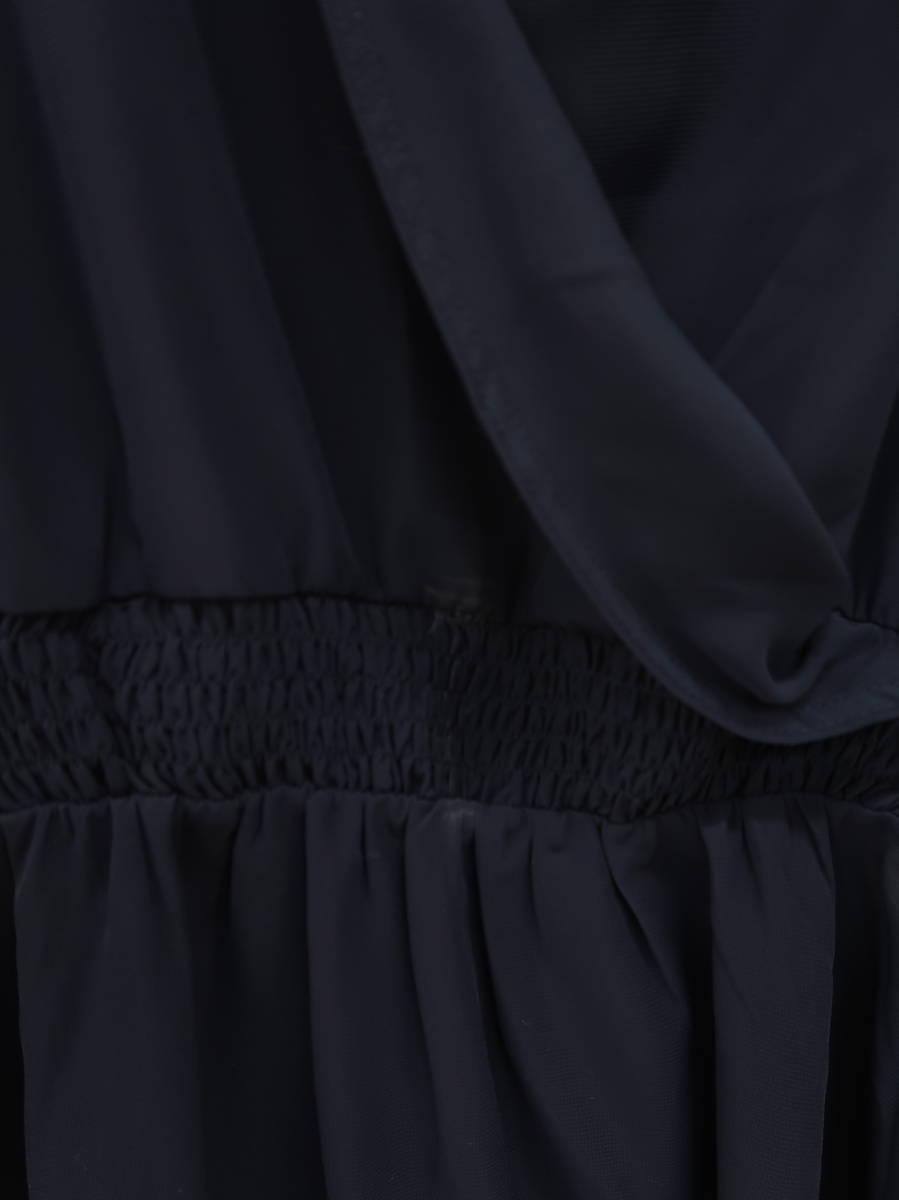 michellMacaron(ミシェルマカロン)シアーカシュクールフリルワンピース 長袖 紺 レディース A-ランク M [委託倉庫から出荷]