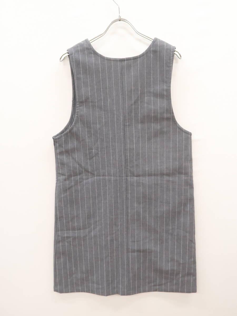 LOWRYS FARM(ローリーズファーム)ストライプジャンバースカート ノースリーブ グレー/白 レディース Aランク L [委託倉庫から出荷]