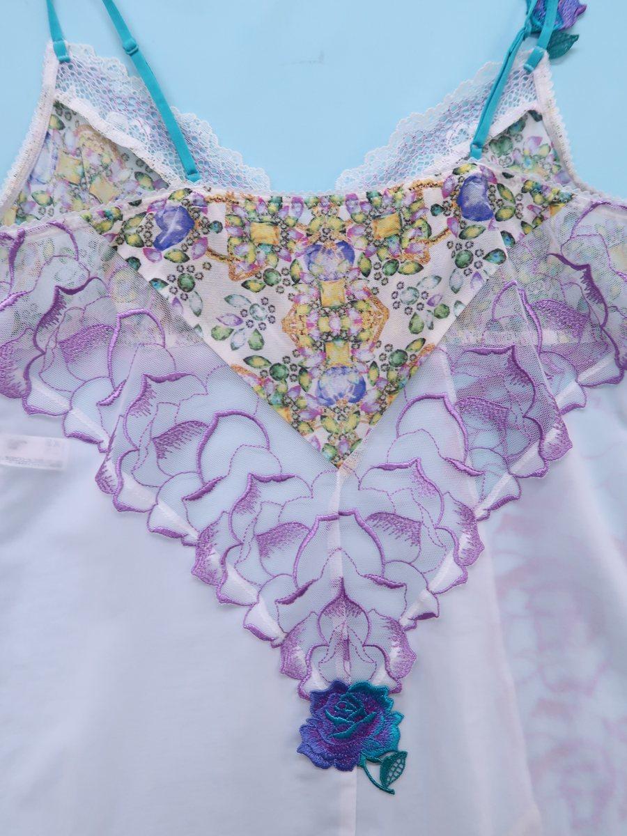 Salute(サルート)刺繍レースキャミソール 白 紫 レディース Aランク M [委託倉庫から出荷]