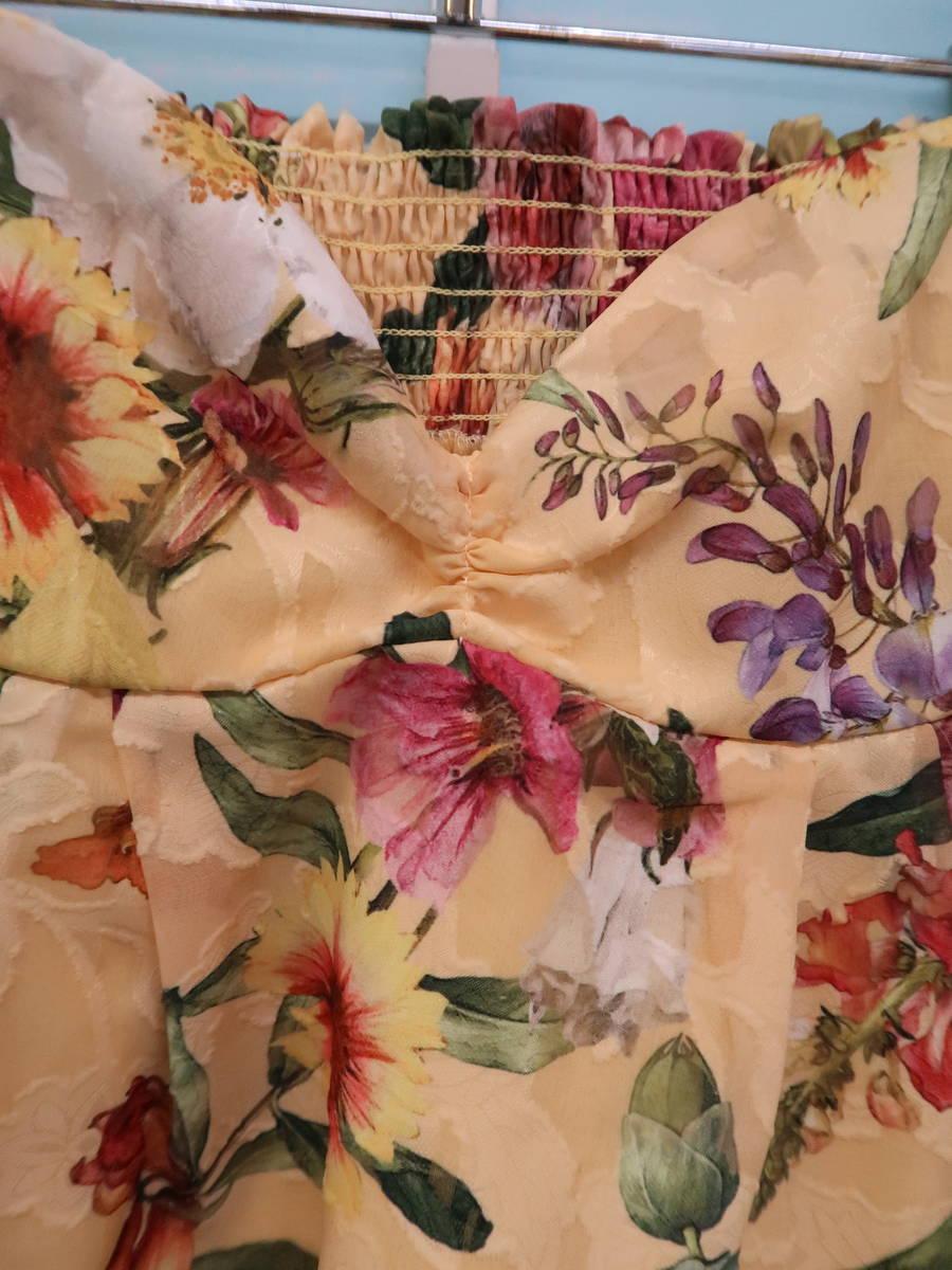 eimy istoire(エイミーイストワール)Paradiso flower 2Wayトップス 五分袖 黄 レディース 新品 F [委託倉庫から出荷]