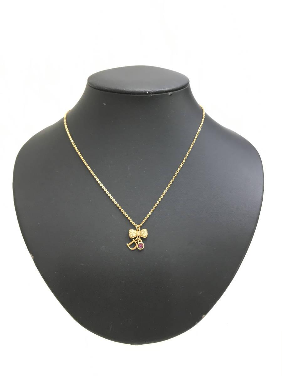 Dior(ディオール)ロゴ&リボンモチーフデザインネックレス ゴールド レディース Aランク [委託倉庫から出荷]