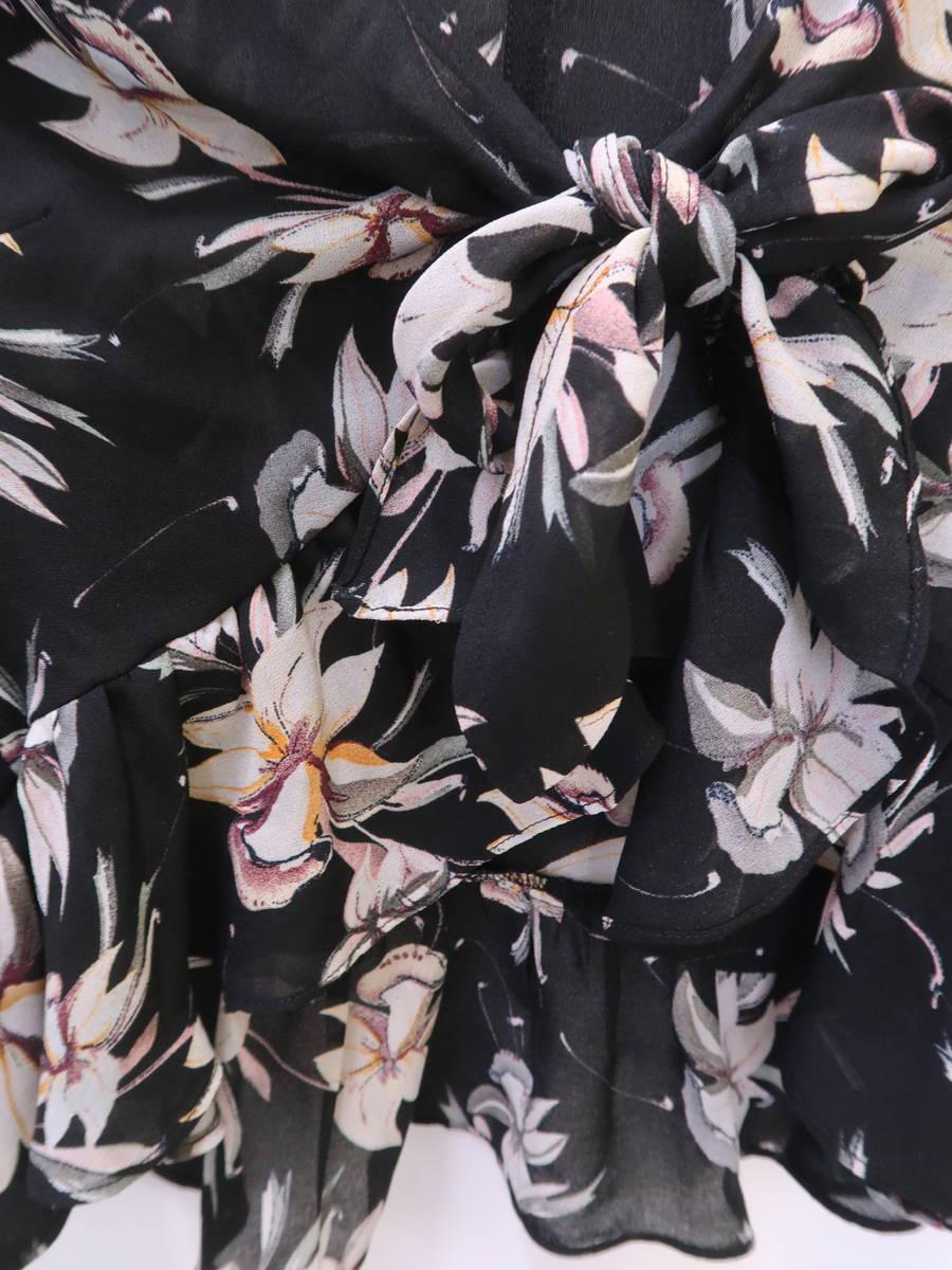 eimy istoire(エイミーイストワール)スパークラーフラワーフロントリボンカーディガン 五分袖 黒/白 レディース Aランク F [委託倉庫から出荷]