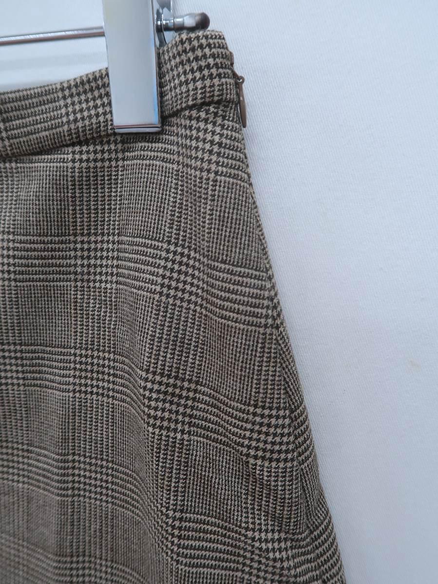 SLOBE IENA(スローブイエナ)グレンチェック切替フレアスカート 茶 レディース Aランク 38 [委託倉庫から出荷]