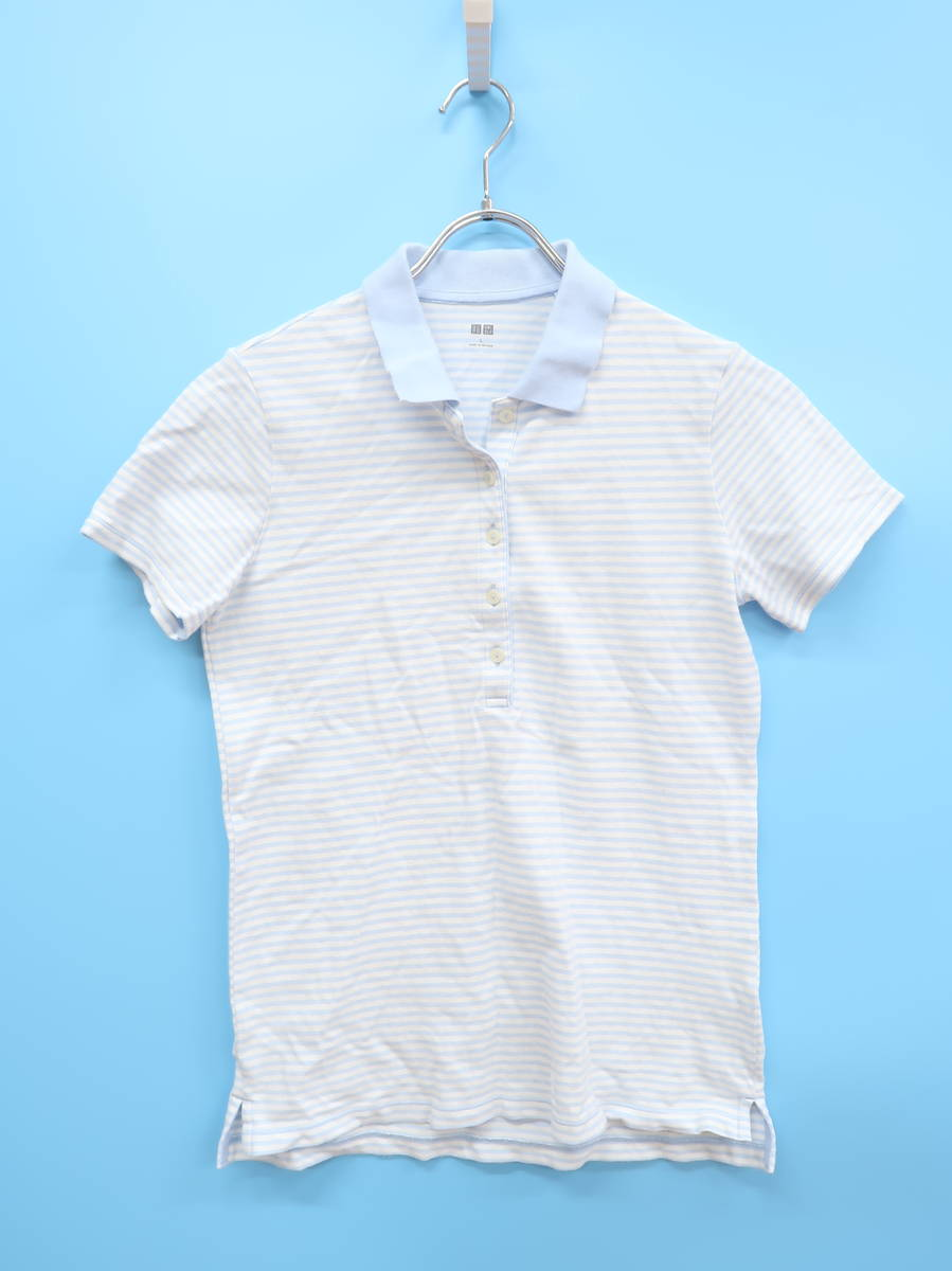 UNIQLO(ユニクロ)コットンボーダーポロシャツ 半袖 青/白 レディース Aランク L [委託倉庫から出荷]