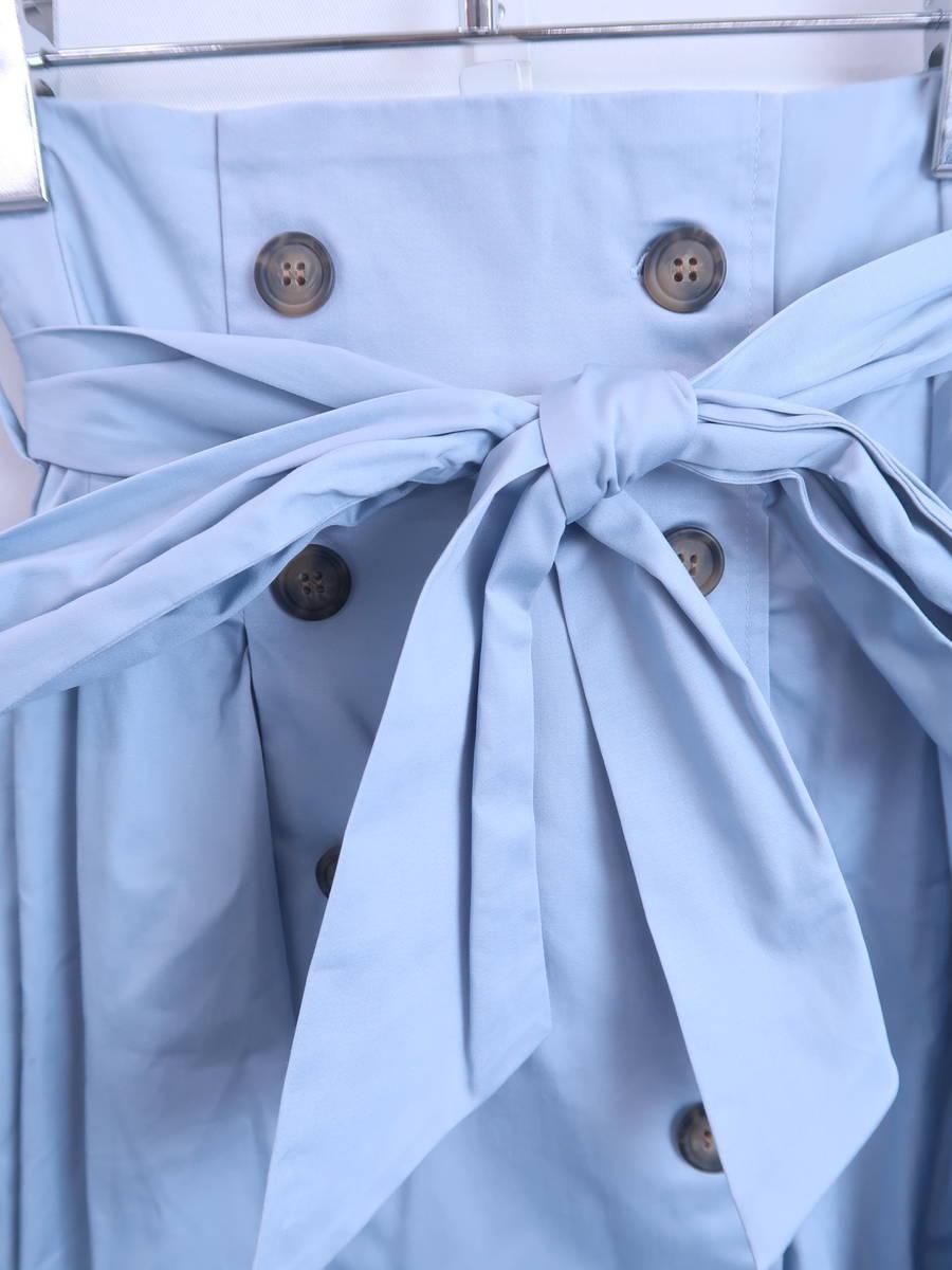 eimy istoire(エイミーイストワール)ウエストリボントレンチフレアスカート 青 レディース 新品 F