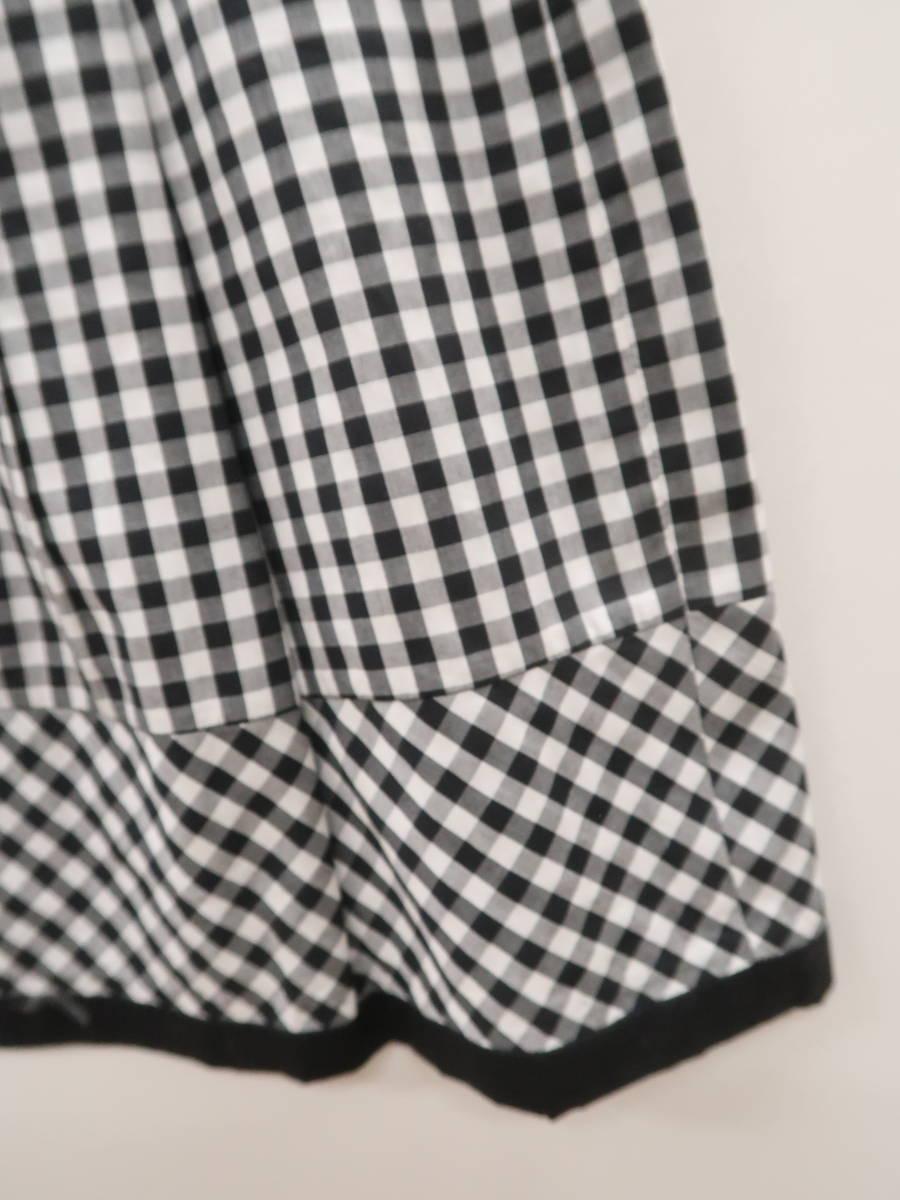 la Bala(ラバーラ)ウエストリボンギンガムチェックフレアスカート 黒/白 レディース 新品 36 [委託倉庫から出荷]