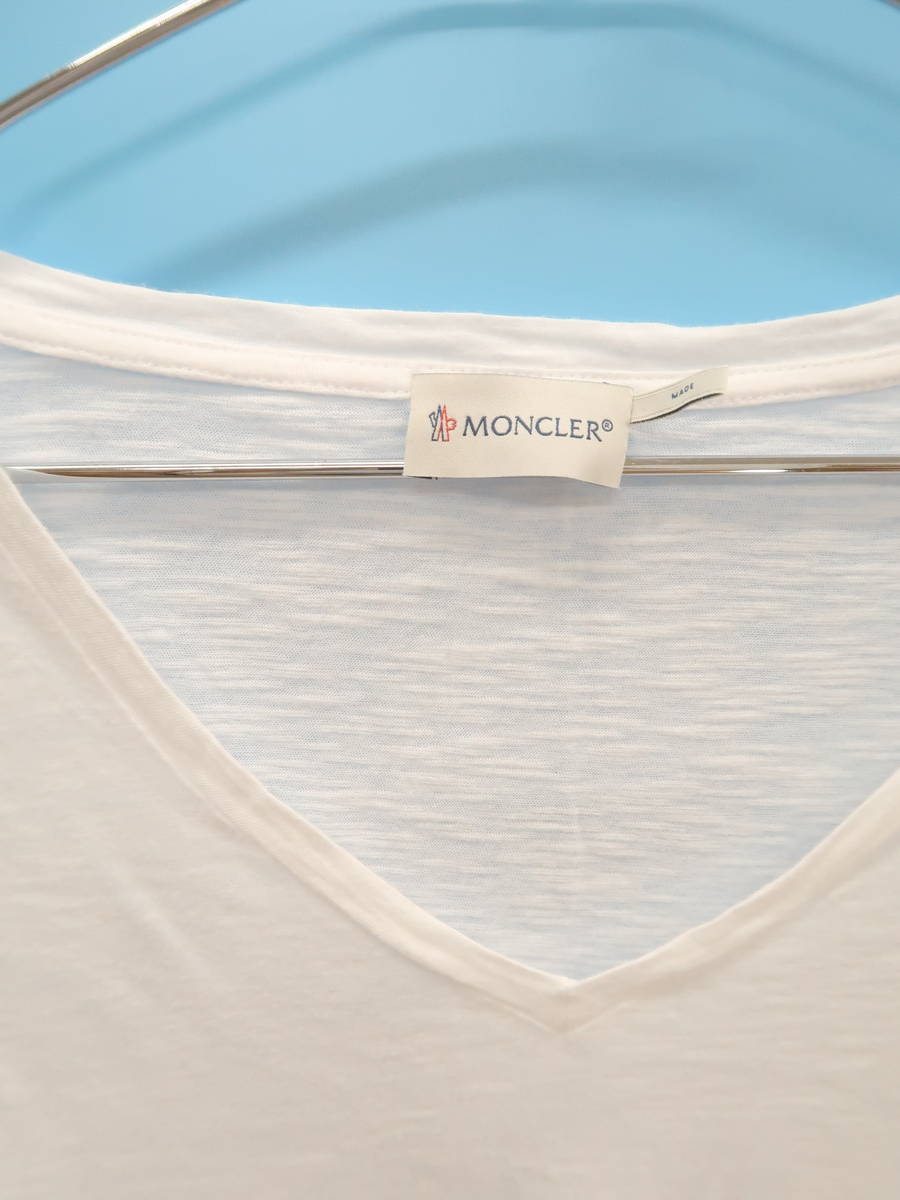 MONCLER(モンクレール)VネックロングTシャツ 長袖 白 レディース A-ランク S [委託倉庫から出荷]