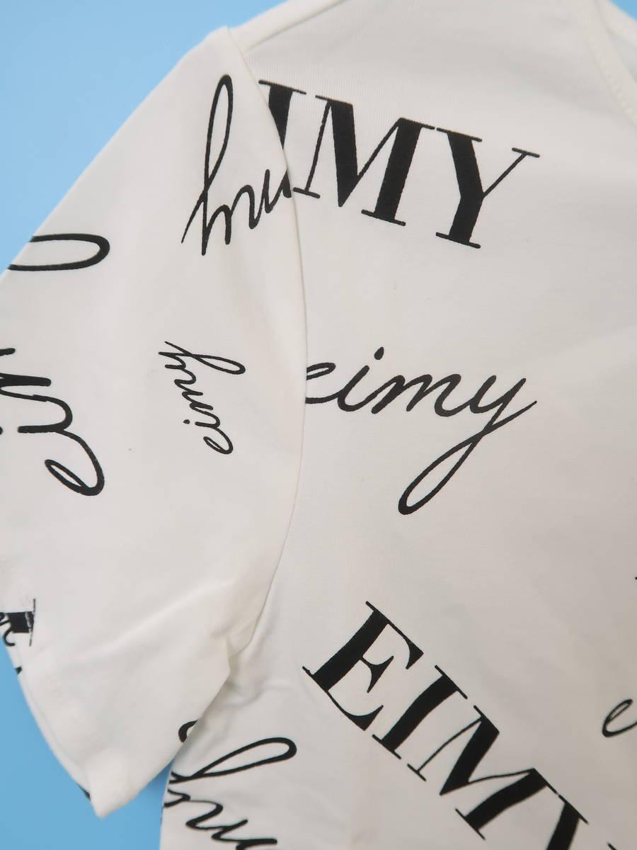eimy istoire(エイミーイストワール)randomly eimyプリントTシャツ 半袖 白/黒 レディース Aランク F