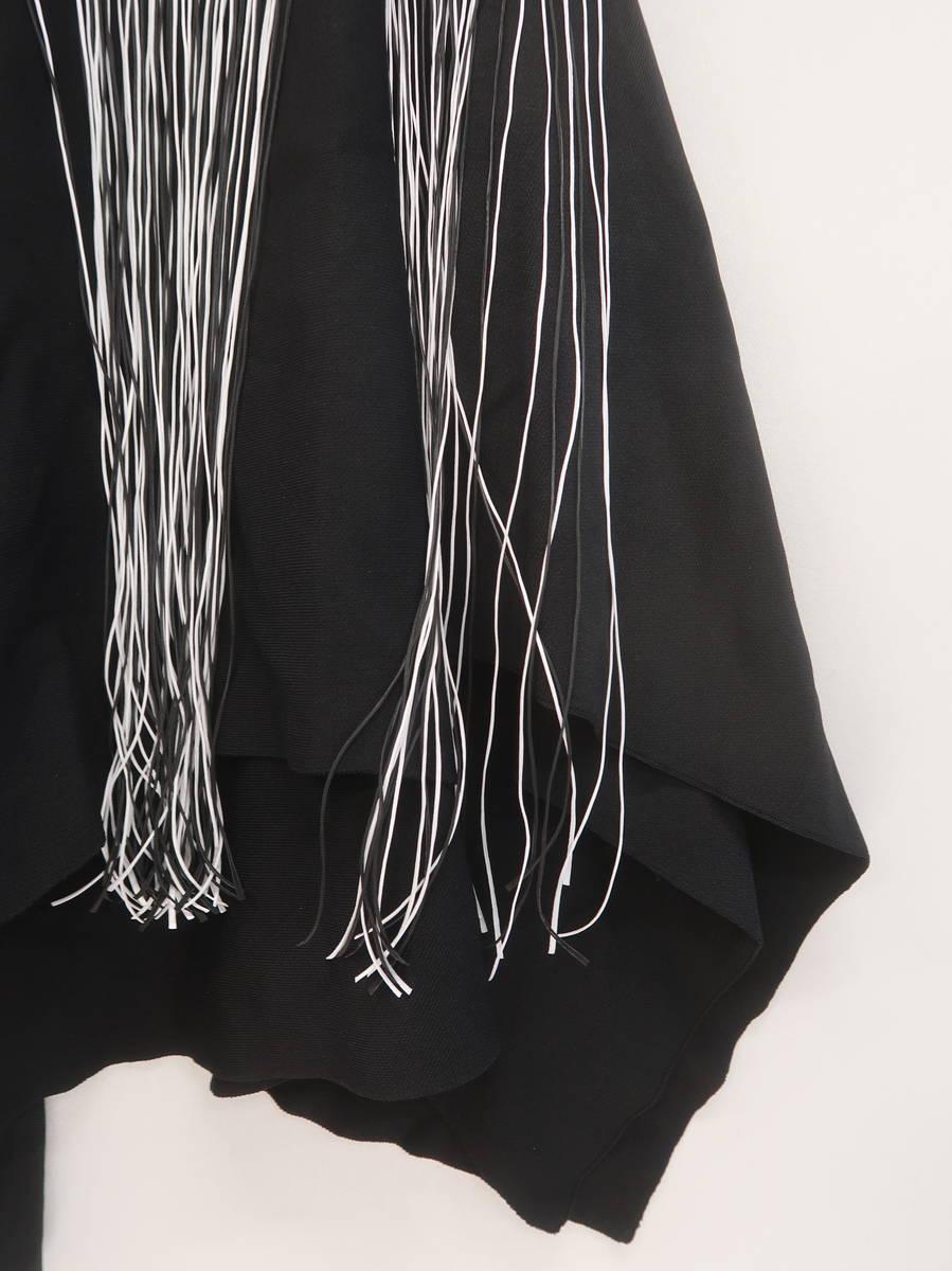 ZARA(ザラ)フリンジ付アシンメトリーニットスカート 黒/白 レディース Aランク S [委託倉庫から出荷]