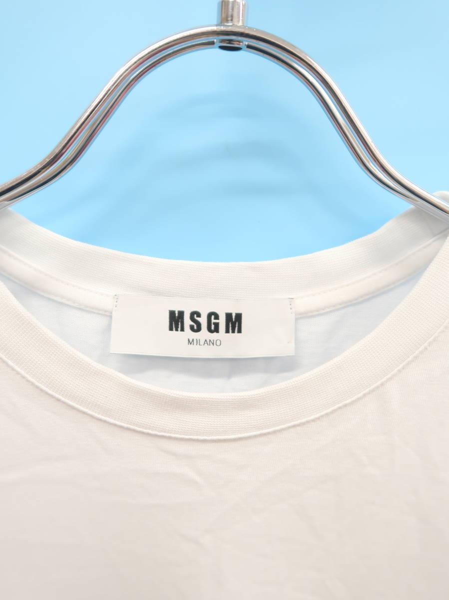 MSGM(エムエスジイエム)ボックスロゴTシャツ 半袖 白/黒 レディース Aランク S [委託倉庫から出荷]