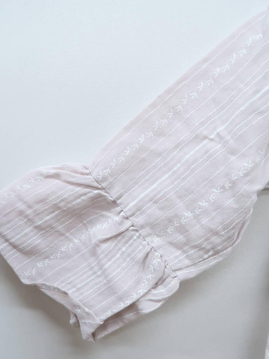 AS KNOW AS PINKY(アズノゥアズピンキー)タッセルリボン刺繍ブラウス 七分袖 ピンク/白 レディース Aランク M [委託倉庫から出荷]