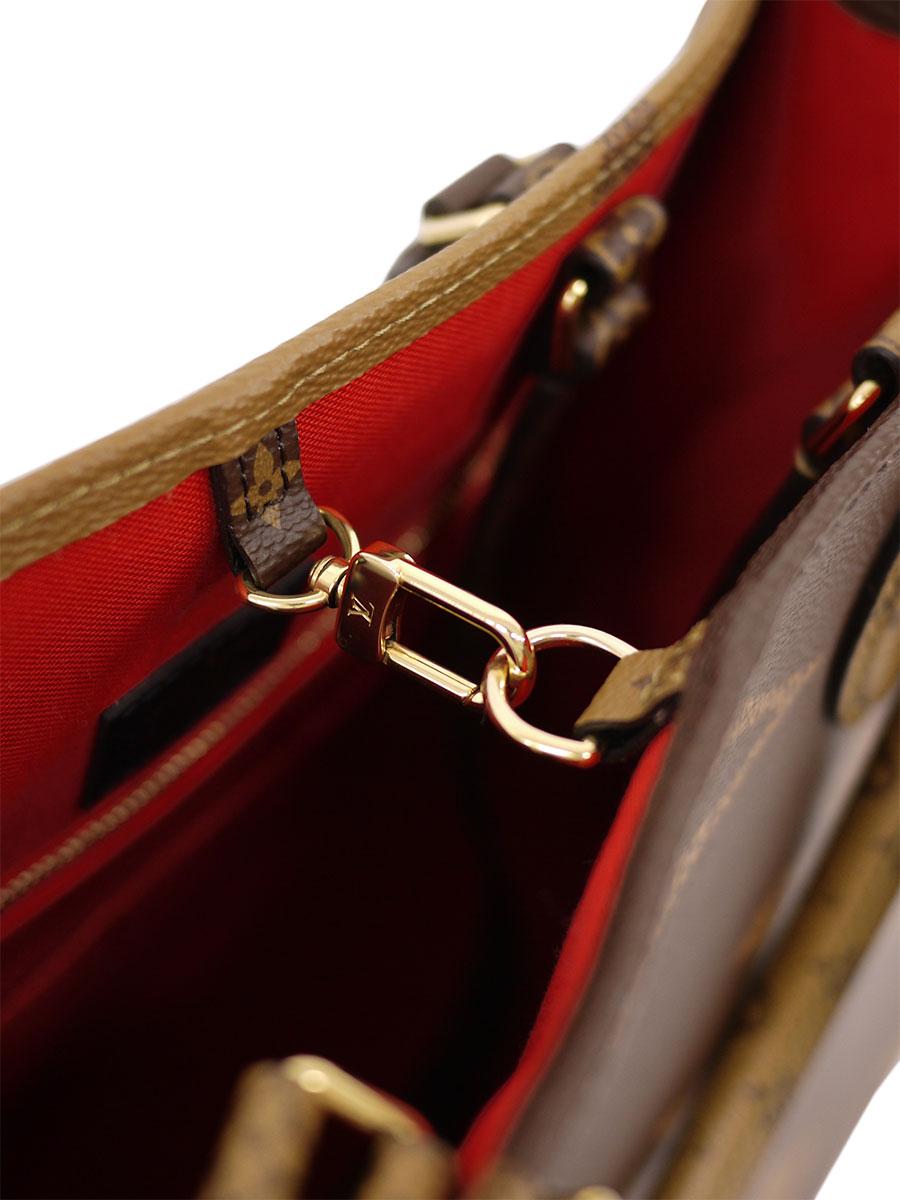 【送料無料】LOUIS VUITTON(ルイヴィトン)ジャイアントモノグラム オンザゴーGM M44576 2WAY トートバッグ ハンドバッグ 茶/ベージュ レディース Sランク [当店倉庫から出荷]