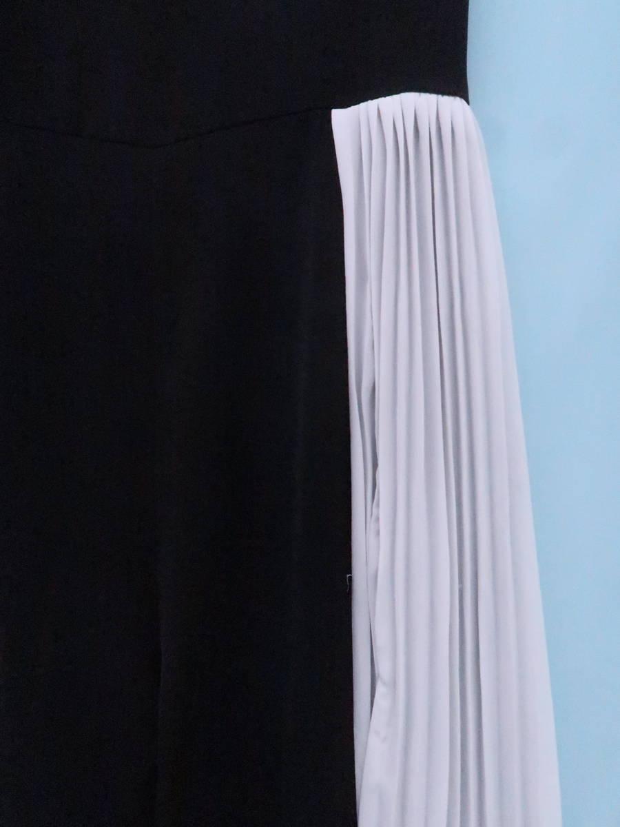 【送料無料】eimy istoire(エイミーイストワール)カラーブロックプリーツオールインワン ノースリーブ 黒 白 レディース S-ランク M [委託倉庫から出荷]