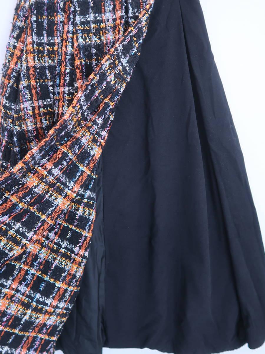 eimy istoire(エイミーイストワール)ツイードコンビラップフレアスカート 黒/オレンジ レディース A-ランク M [委託倉庫から出荷]