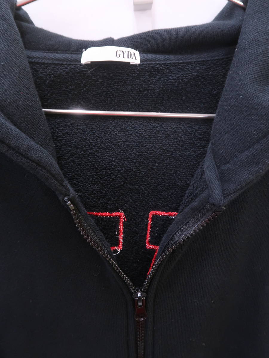 GYDA(ジェイダ)BROAD CASTジップアップスウェットパーカー 長袖 黒/赤 レディース Aランク F [委託倉庫から出荷]