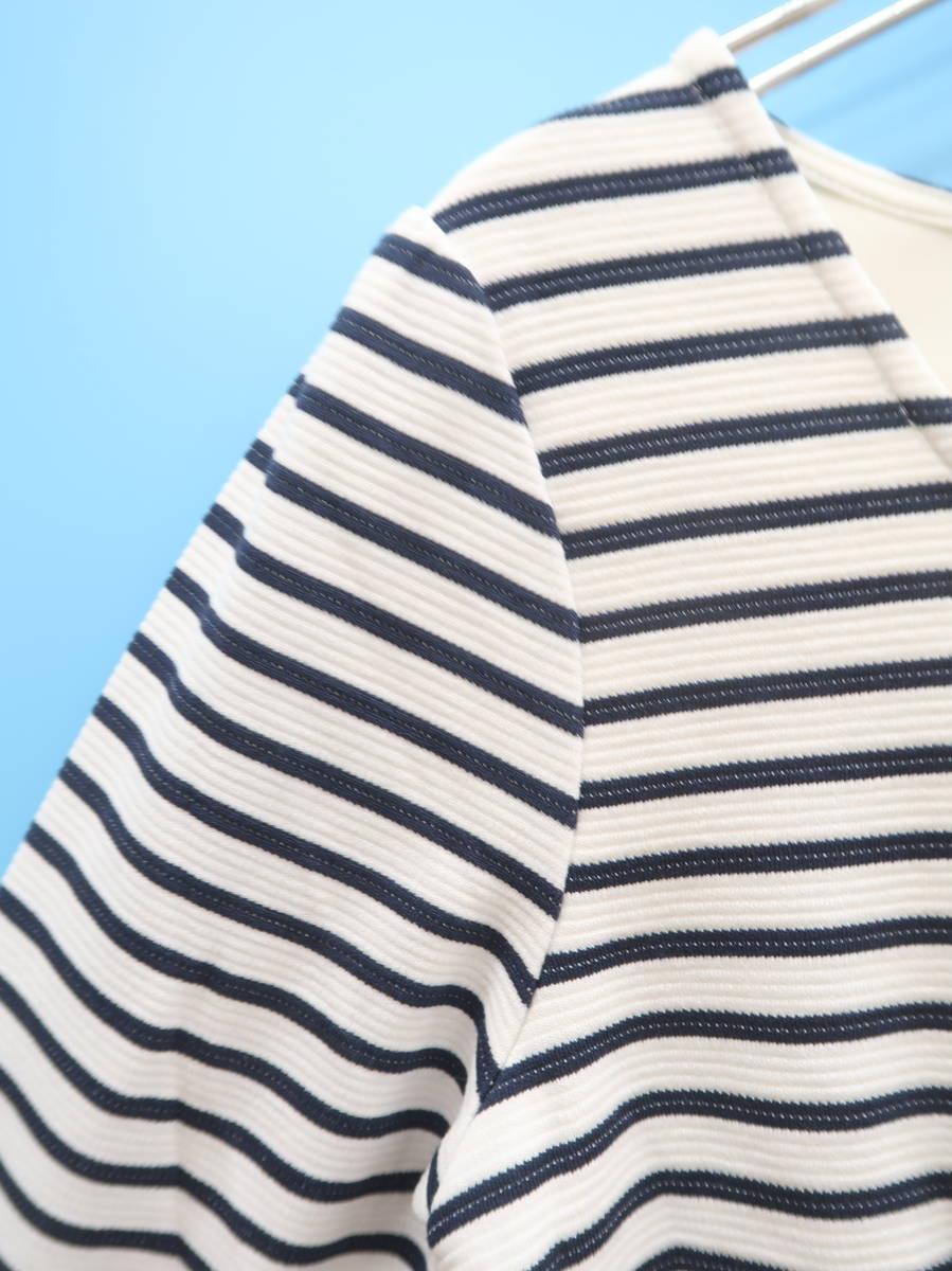 Lilidia(リリディア)フレアボーダーワンピース 七分袖 白/紺 レディース Aランク 1 [委託倉庫から出荷]