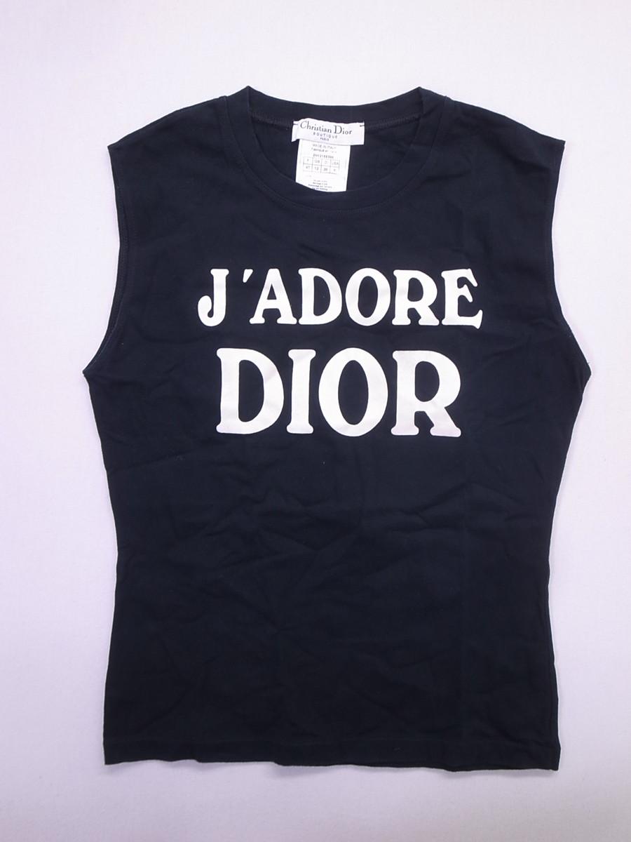 Christian Dior(クリスチャンディオール)J'ADORE DIORトップス ノースリーブ 黒 レディース A-ランク USA8