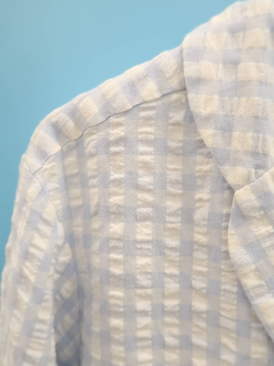 gelato pique(ジェラートピケ)ギンガムチェックシャツセットアップ 長袖 青/白 レディース Aランク F [委託倉庫から出荷]