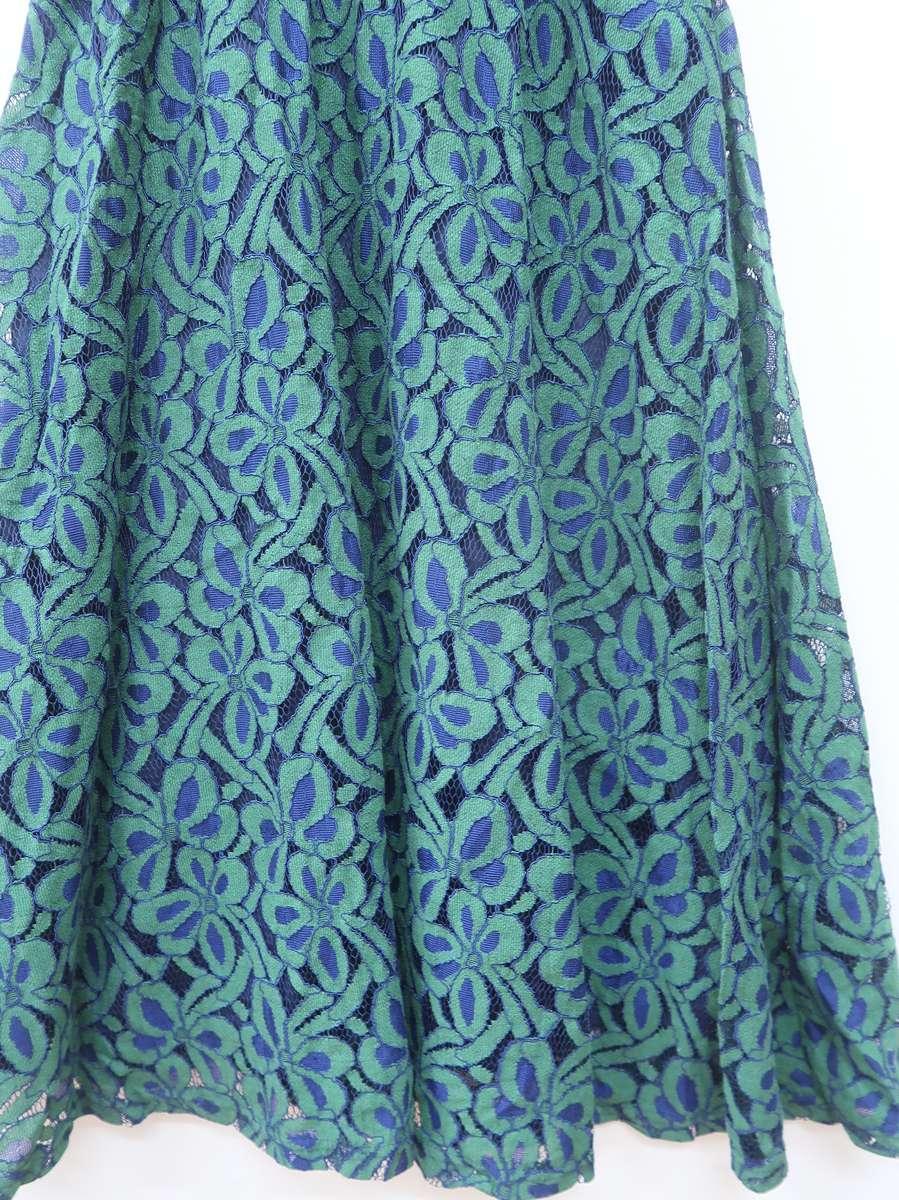 SpRay(スプレイ)ウエストリブフラワーレースマキシワンピース 五分袖 紺/緑 レディース Aランク M [委託倉庫から出荷]