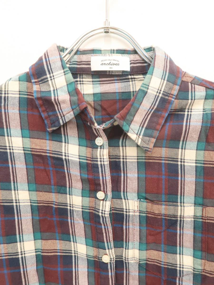 archives(アルシーヴ)ベーシックチェックシャツ 長袖 緑/茶 レディース Aランク M [委託倉庫から出荷]