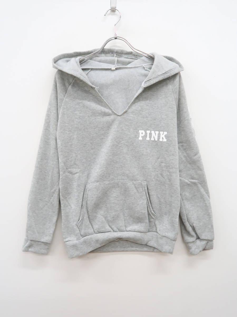 裏起毛LOVE PINKスウェットプルオーバーパーカー 長袖 グレー/白 レディース Aランク S [委託倉庫から出荷]