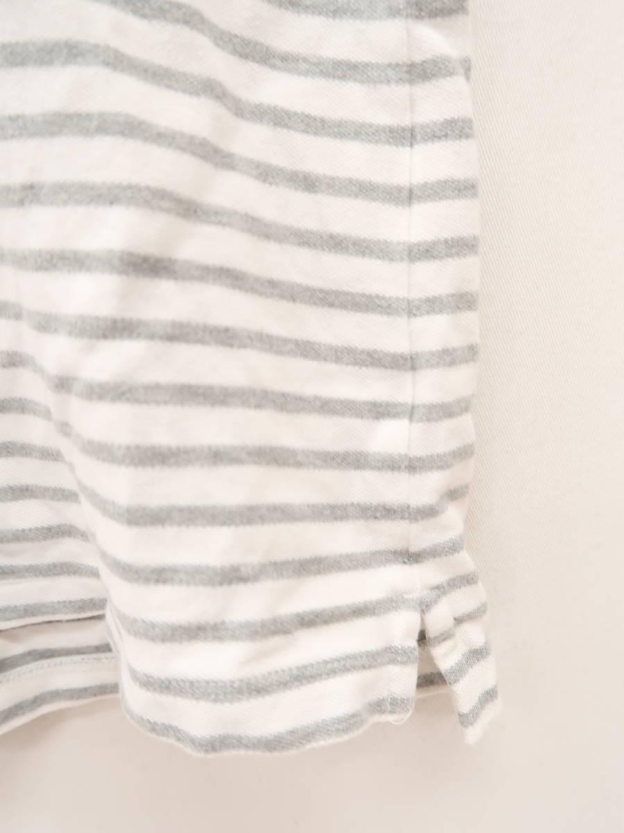 UNIQLO(ユニクロ)パネルボーダーポロシャツ 半袖 グレー/白 レディース Aランク L [委託倉庫から出荷]