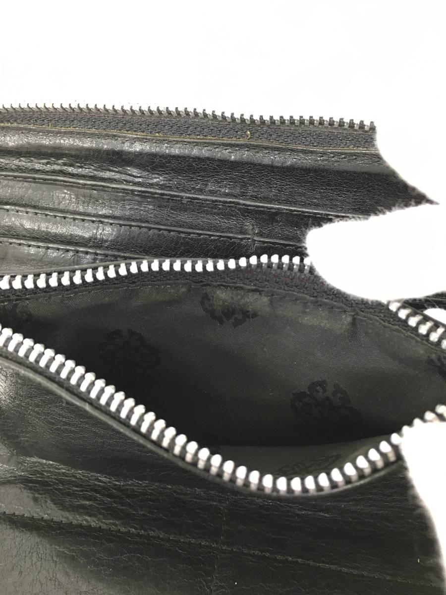 【送料無料】CHROME HEARTS(クロムハーツ)ラウンドファスナーウォレット 長財布 黒 レディース A-ランク [委託倉庫から出荷]