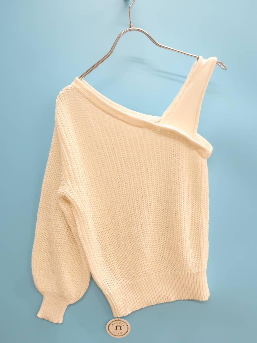 ALEXIA STAM(アリシアスタン)[2019]One Shoulder Cotton Knit Top 白 レディース 新品 F [委託倉庫から出荷]