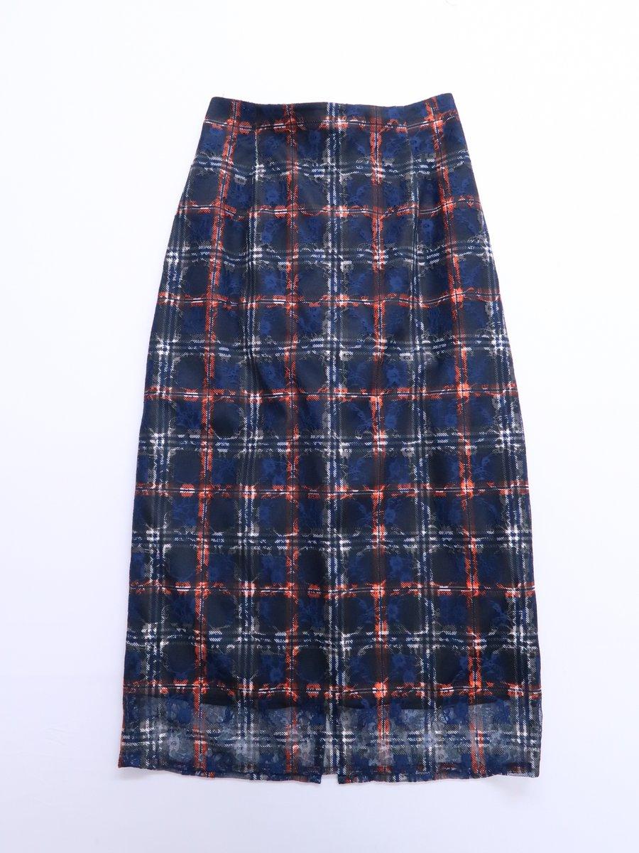 EDIT COLOGNE(エディットコロン)オータムカラーレースタイトスカート 紺 オレンジ レディース 新品 2 [委託倉庫から出荷]