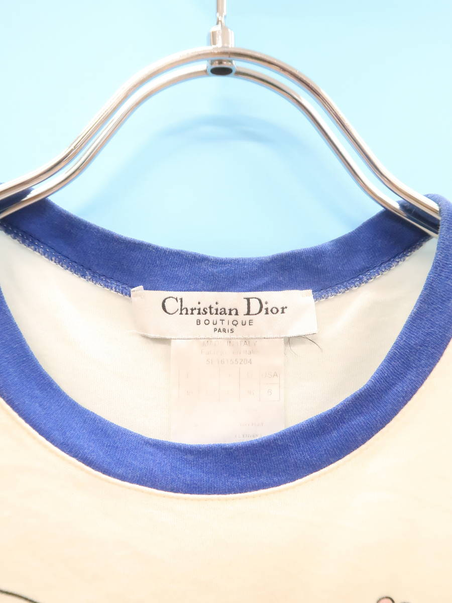 【送料無料】Christian Dior(クリスチャンディオール)J'ADORE Tシャツ 半袖 白/青 レディース A-ランク 38 [委託倉庫から出荷]