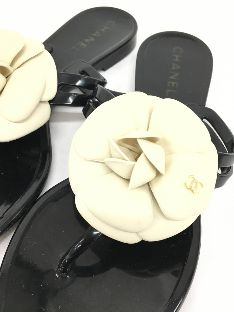 【送料無料】CHANEL(シャネル)ココマークカメリアサンダル 黒/白 レディース Aランク 36 [委託倉庫から出荷]