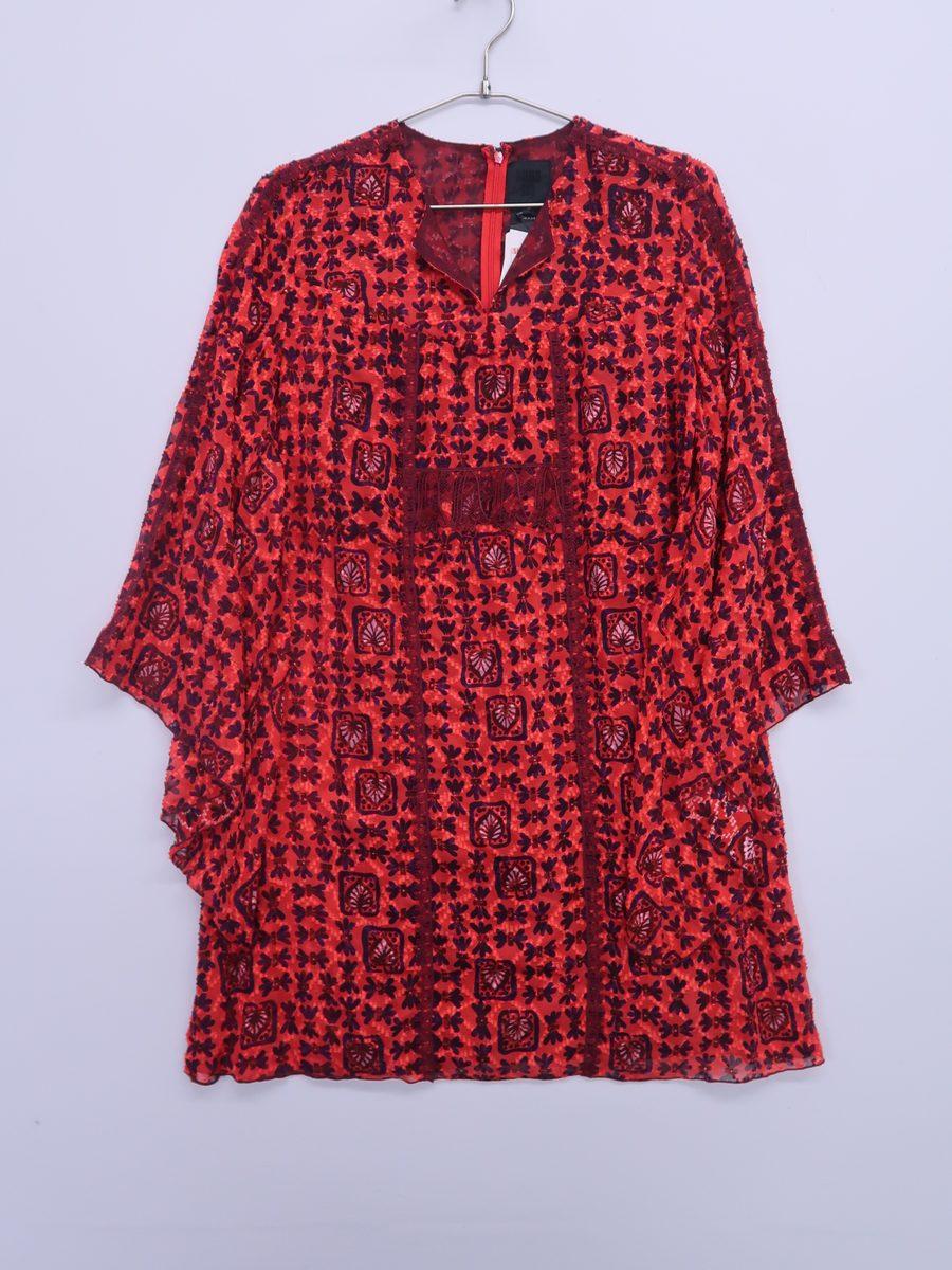 【送料無料】ANNA SUI (アナスイ)マルチプリントスキッパーワンピース 長袖 赤 紫 レディース 新品 P [委託倉庫から出荷]