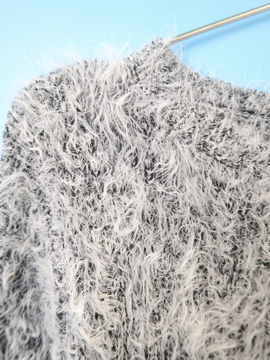TORRAZZO DONNA(トラッゾドンナ)シャギーニットプルオーバー 長袖 白/黒 レディース Sランク