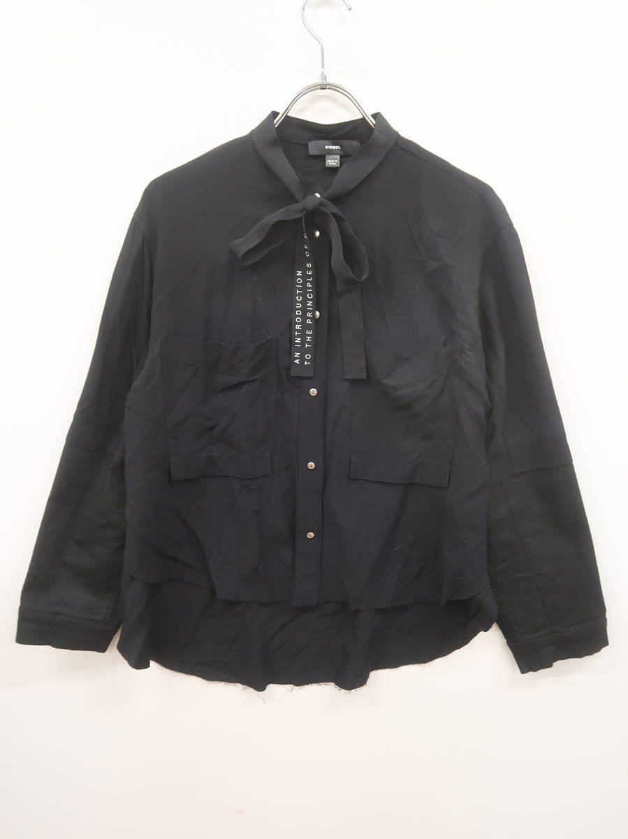 DIESEL(ディーゼル)異素材スリーブリボンタイシャツ 長袖 黒 レディース A-ランク XS [委託倉庫から出荷]