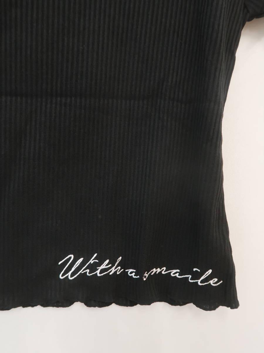 eimy istoire(エイミーイストワール)オフショルダーリブ刺繍トップス 半袖 黒 レディース 新品 F [委託倉庫から出荷]