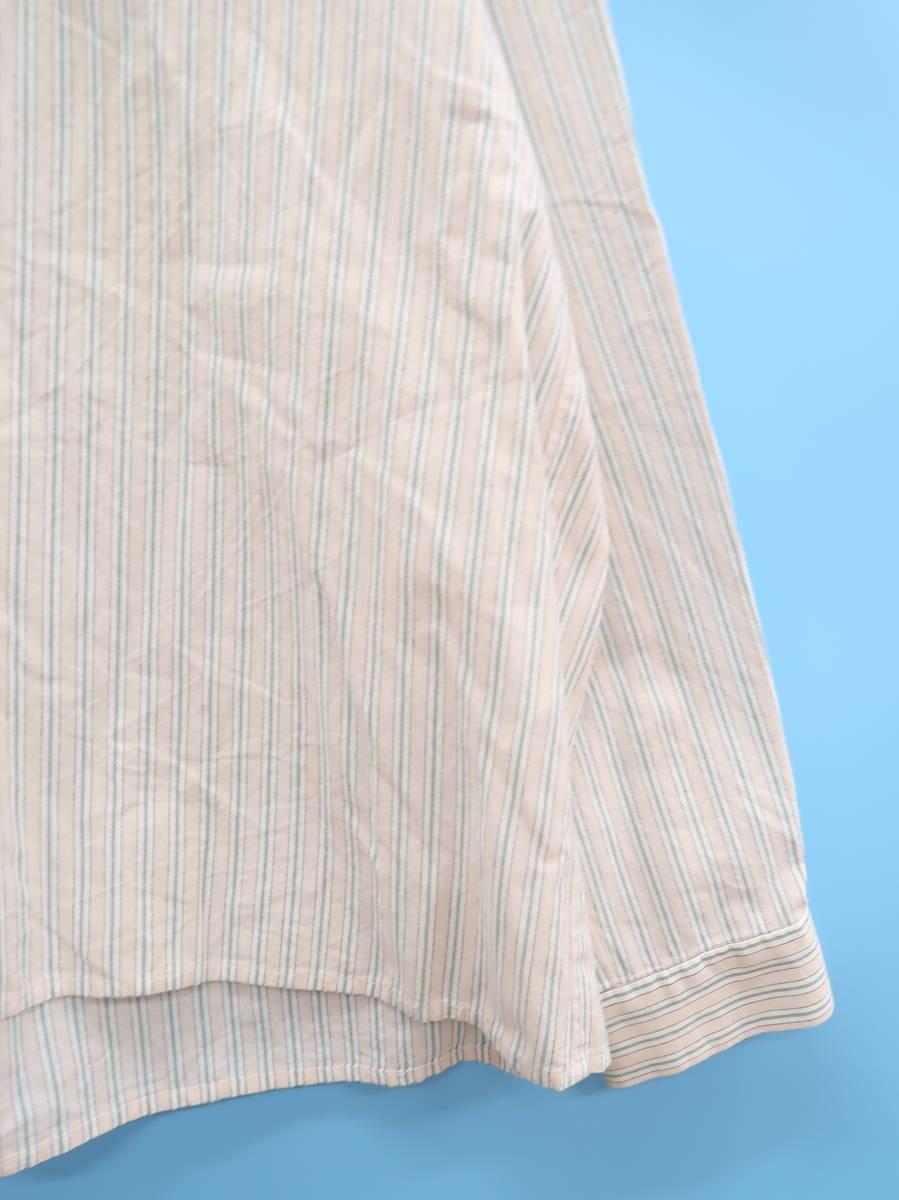 koe(コエ)スキッパーストライプシャツ 長袖 ベージュ/緑 レディース Aランク M [委託倉庫から出荷]