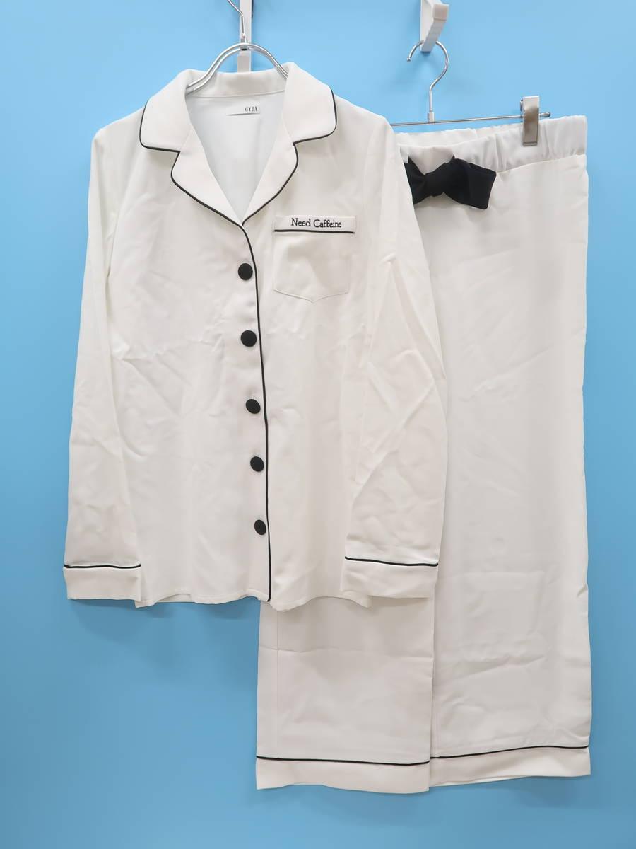 GYDA(ジェイダ)バイカラーパジャマセットアップ 長袖 白/黒 レディース Sランク F