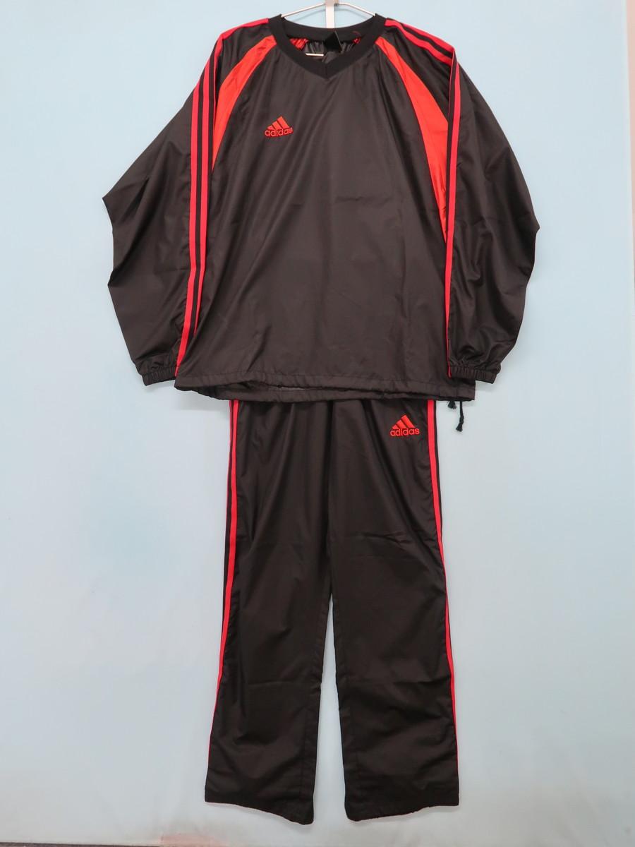 adidas(アディダス)シャカシャカラインセットアップ 長袖 黒 赤 メンズ Aランク S