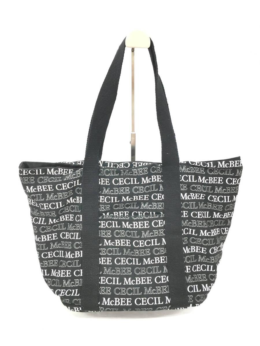 CECIL McBEE(セシルマクビー)ロゴボーダーマチ付トートバッグ 黒/白 レディース Aランク [委託倉庫から出荷]