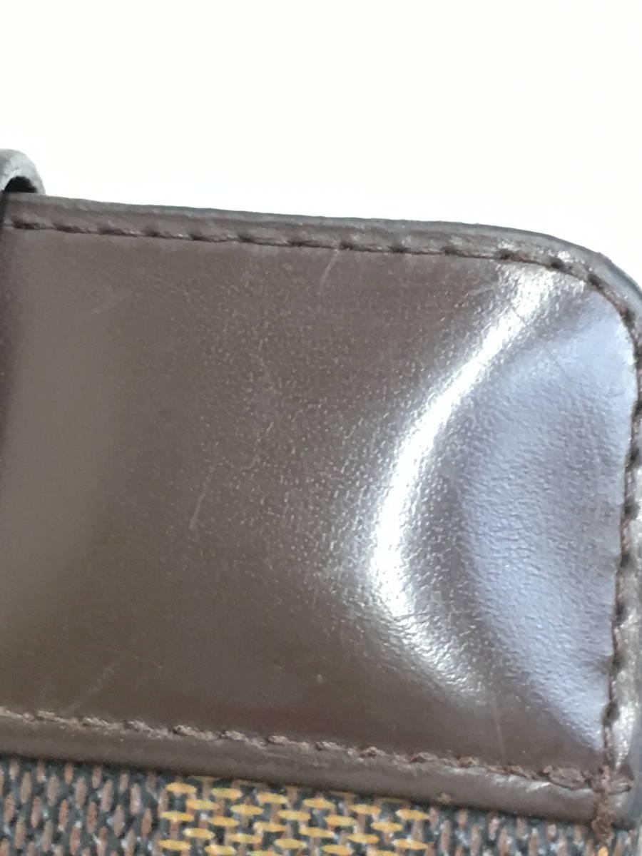【送料無料】LOUIS VUITTON(ルイヴィトン)ダミエ コンパクトジップ二つ折り財布 茶 レディース A-ランク [委託倉庫から出荷]