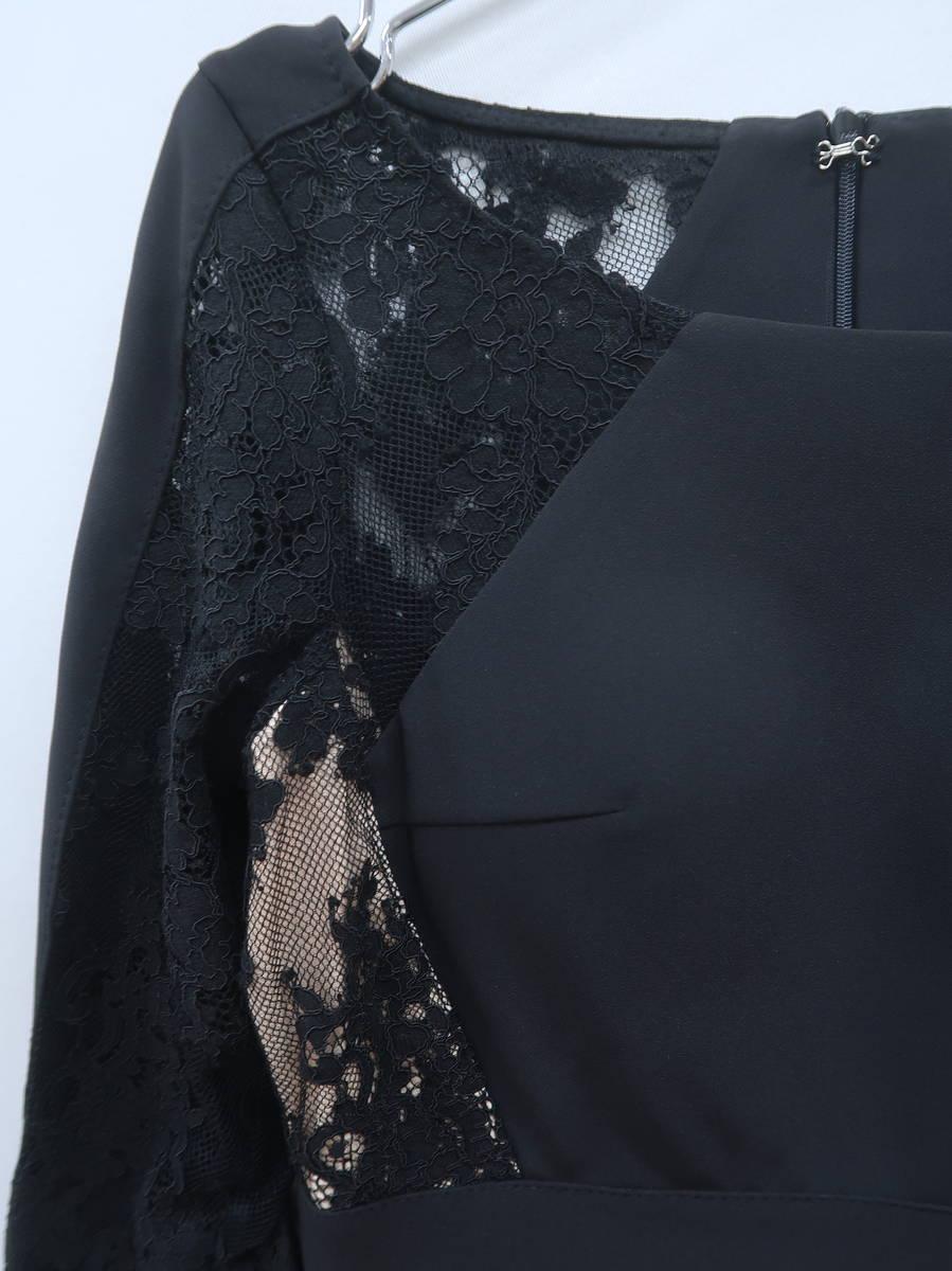 Andy(アンディ)レース切替ミニドレス 長袖 黒 レディース 新品 M [委託倉庫から出荷]