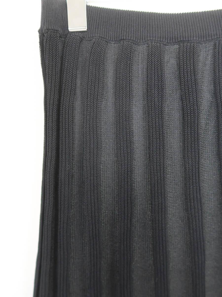 eimy istoire(エイミーイストワール)[2019]シアーストライプニットスカート 黒 レディース Sランク F